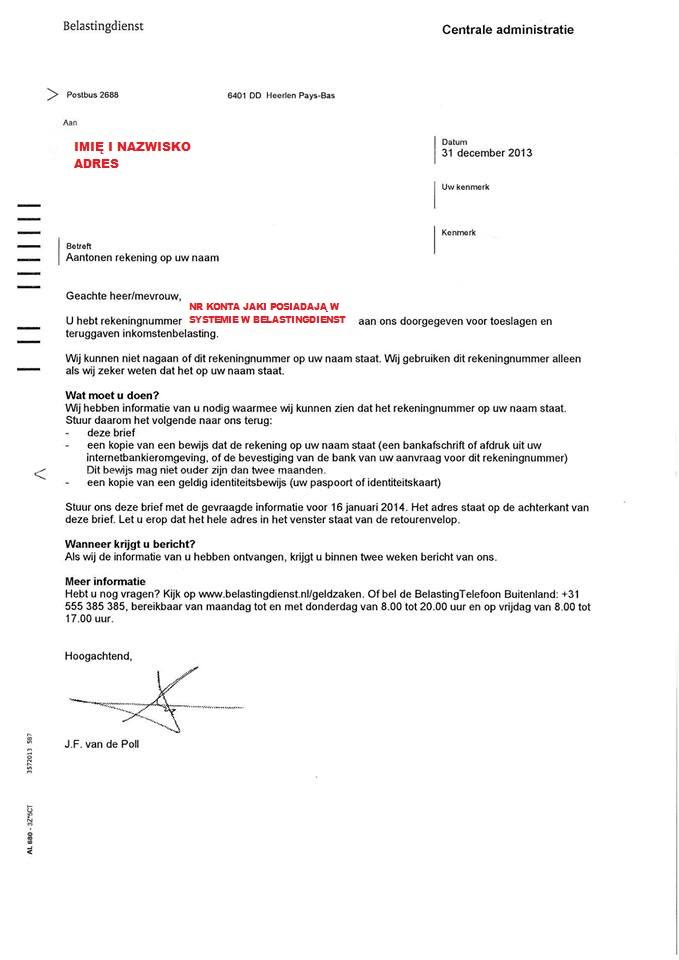 pismo w sprawie konta